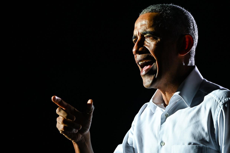 Barack Obama tijdens een campagnebijeenkomst van Joe Biden in Miami, een dag voor de presidentsverkiezingen eerder deze maand. Beeld AFP
