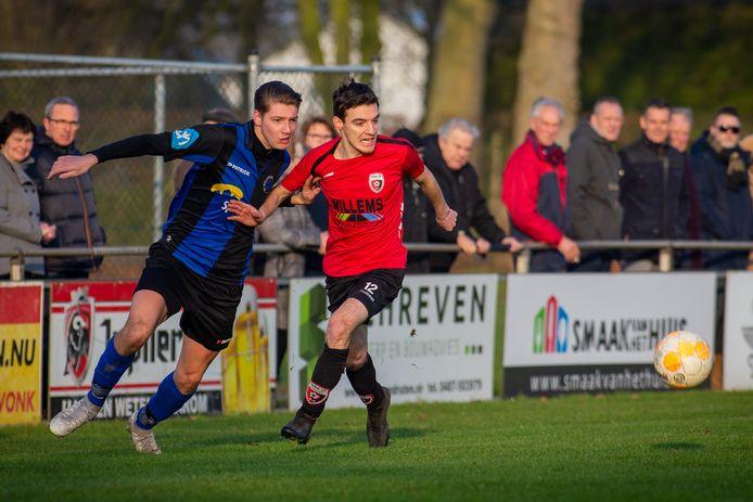 Roda-Millingen eerder dit seizoen. Beide clubs grijpen naast promotie naar de derde klasse.