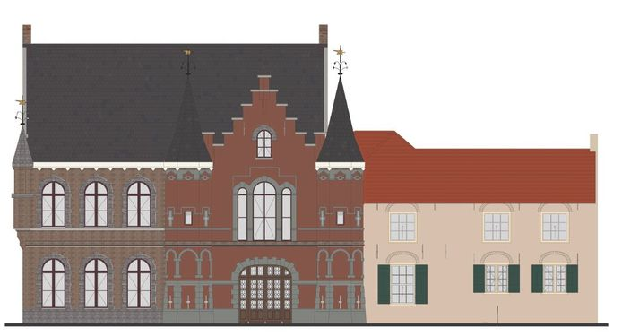 De kleuren die het 'Roze Kasteel' op Landgoed Steenenburg in het voormalige Land van Ooit moet krijgen. De kleuren op deze illustratie kunnen afwijken van de werkelijke kleuren die het kasteel krijgt.