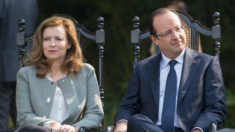 Februari 2013: Trierweiler en Hollande op een officieel bezoek aan India. Beeld BELGA