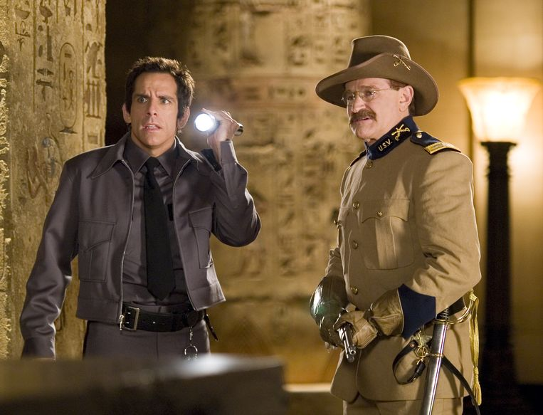 Ben Stiller en Robin Williams als Teddy Roosevelt in de film 'Night At The Museum'.