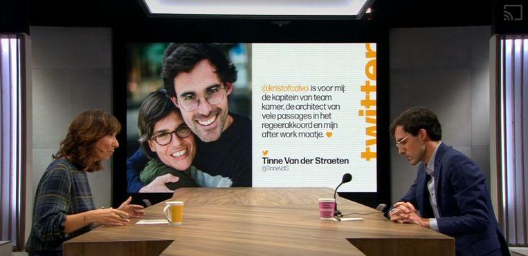 Onder meer de mooie woorden van vriendin en kersvers minister Tinne Van der Straeten kwamen binnen bij Calvo. Beeld De Zevende Dag, Eén