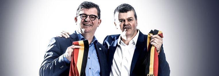 """Bart Tommelein en Bart Somers: """"Ik ben nog de voorzitter van Bart geweest bij de VU-jongeren. Wij hebben Jan Jambon en Peter De Roover nog uit de partij gegooid omdat ze te rechts waren."""" Beeld Humo"""
