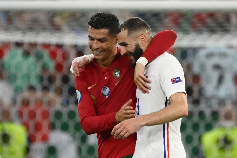 Cristiano Ronaldo en Karim Benzema. Beeld AP