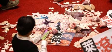 Des abats de porc jetés au Parlement taïwanais