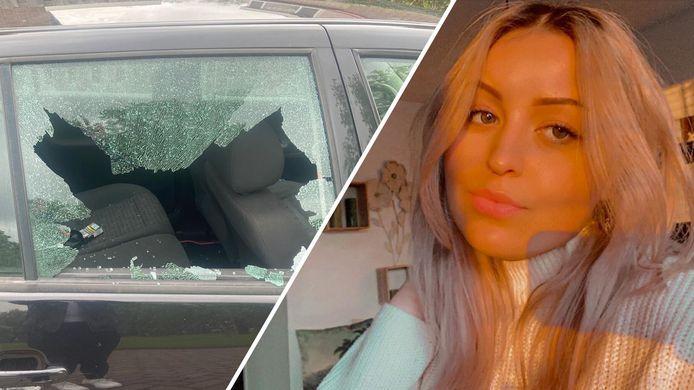 De schade aan de auto van Weronika is goed te zien.