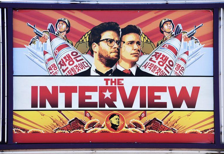 Een poster van The Interview. Beeld afp