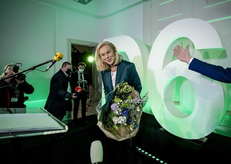 Sigrid Kaag evenaarde de recorduitslag voor D66 uit 1994, met 24 zetels. Beeld ANP