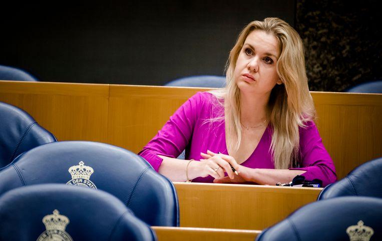 Femke Merel Van Kooten Arissen alleen in de Tweede Kamer. Beeld ANP