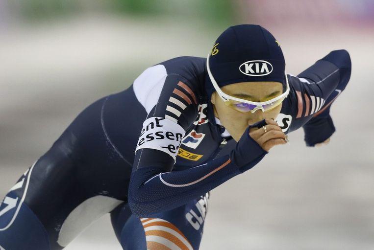 Lee Sang-hwa, winnares van de tweede 500 meter. Beeld epa
