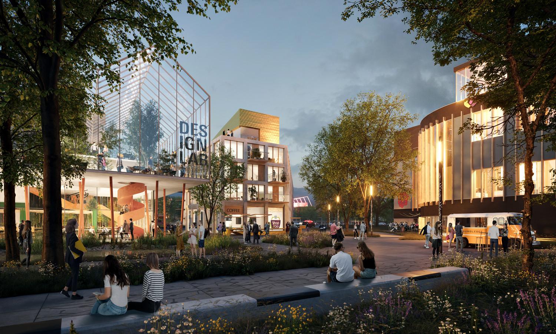 Zo moet het Kennispark eruit gaan zien. Een innovatiecampus met veel groen, ontmoetingsruimten en gezamenlijke faciliteiten.