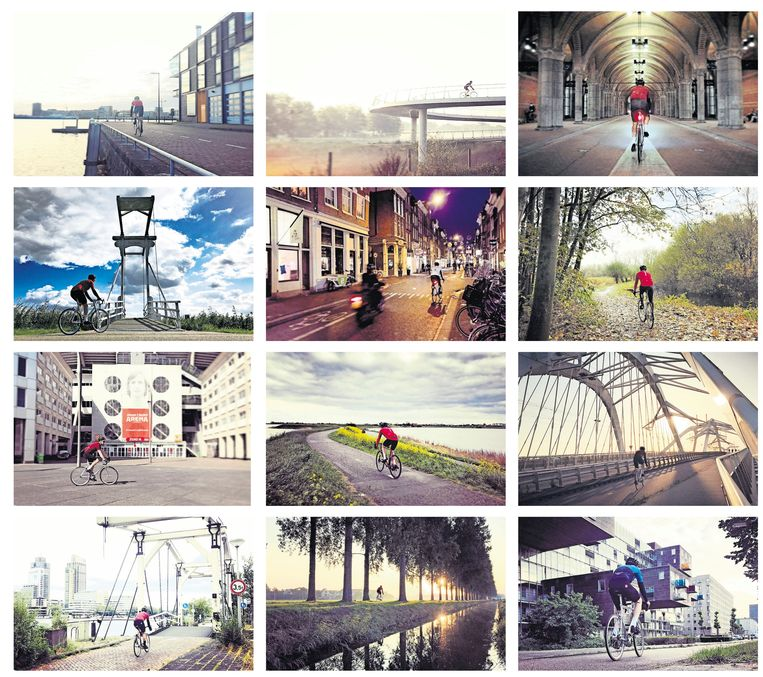 Met de hashtag #RideSolo werden wielrenners het afgelopen jaar gestimuleerd in hun eentje te toeren. Reden voor Jacco de Vries om tijdens zijn bijna dagelijkse ritjes een fiets-selfie te maken, met behulp van de timer op zijn iPhone en een magnetisch ministatief.  Beeld Jacco de Vries