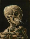 Kop van een skelet met brandende sigaret,  Vincent van Gogh, januari/februari 1886. Hans de Kort maakte ook een foto gebaseerd op dit schilderij. Het kostte hem behoorlijk wat moeite om er een mensenskelet voor te vinden