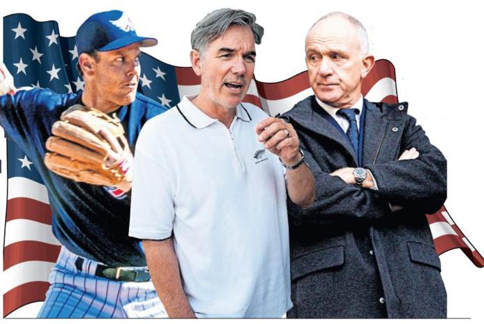 Robert Eenhoorn (hier als honkballer van Anaheim Angels), Billy Beane en Michael Kinsbergen hebben iets met AZ én de VS.