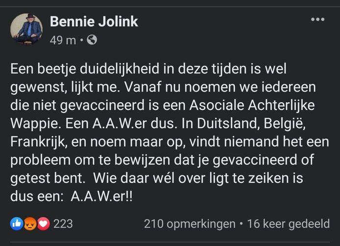 Het betreffende Facebook-bericht van Bennie Jolink