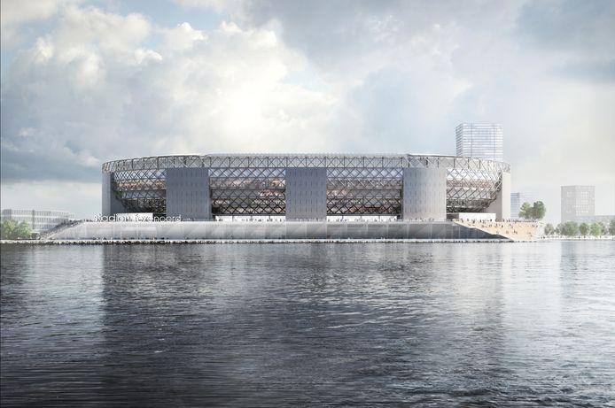 Het nieuwe stadion prominent aan de Nieuwe Maas. Het water zorgt ervoor dat het complex van grote afstand zichtbaar is. Robuust vormgegeven met de Kuip als inspiratie.