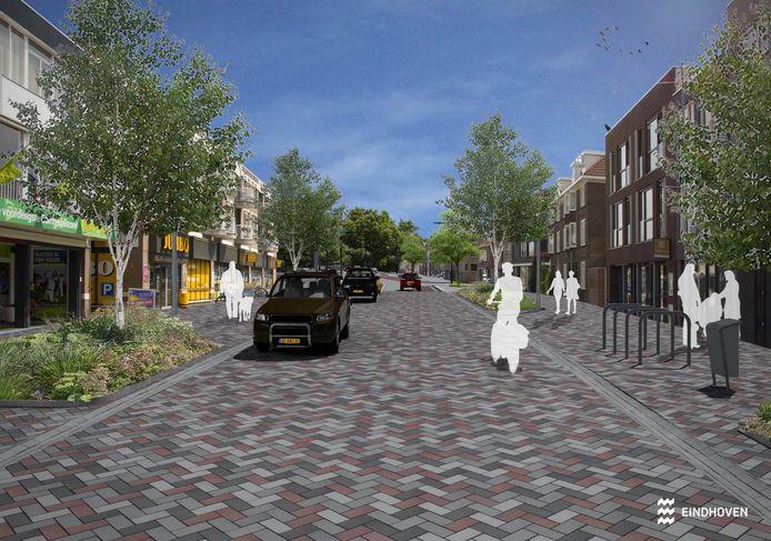 Een impressie van de gemeente Eindhoven van de nieuwe inrichting van de Geldropseweg ter hoogte van de Jumbo, het pleintje in het 'hart' van de straat.