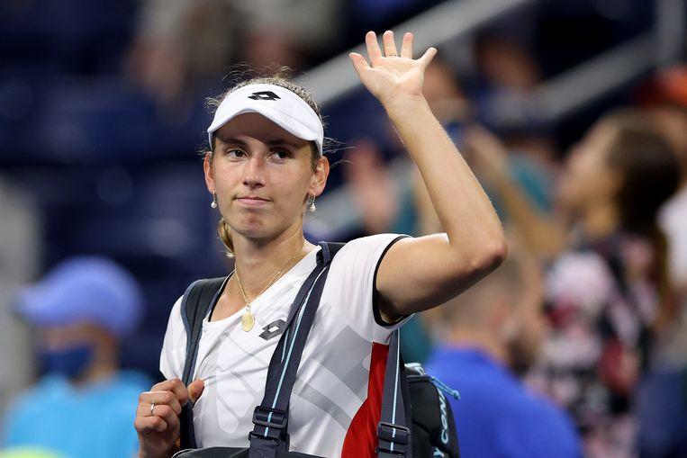 Elise Mertens  verlaat het US Open na het verlies tegen de Wit-Russische Aryna Sabalenka.  Beeld AFP