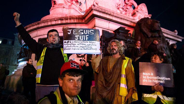 Demonstratie tegen antisemitisme op 19 februari op Place de la République in Parijs. Beeld AFP