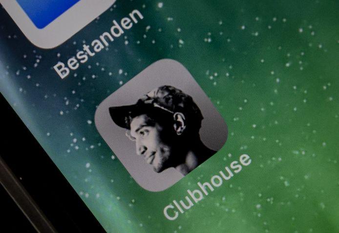 Icoon van de app Clubhouse op een telefoon, ter illustratie.