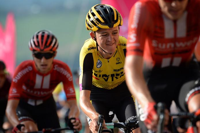 Antwan Tolhoek in actie tijdens de gitzwarte Ronde van Polen, waarin hij in het algemeen klassement dertiende werd.