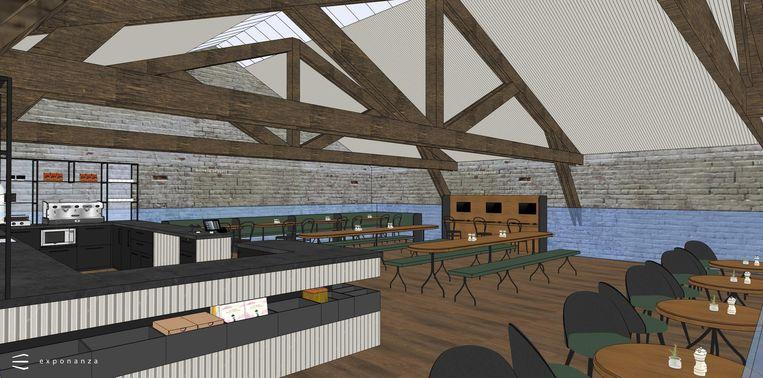 Boven de inkom komt er een mezzanine waar het museumcafé zijn nieuwe plek krijgt.