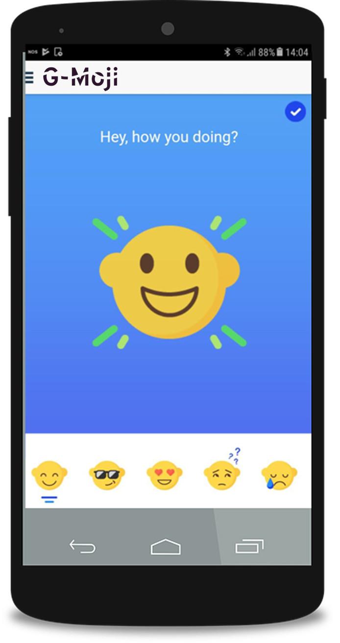 De G-Moji app om gevoelens te leren uiten.
