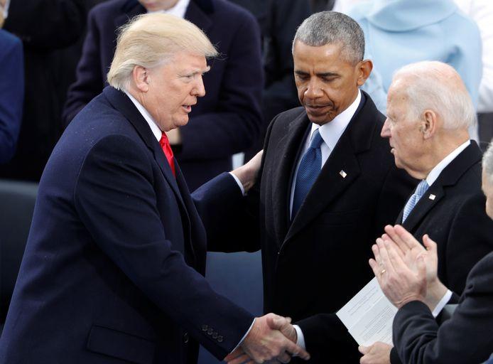 President Donald Trump, zijn voorganger Barack Obama en Joe Biden bij Trumps aantreden als president in 2017.