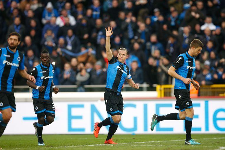Ruud Vormer viert nadat hij voor Club Brugge scoort tegen Anderlecht. Beeld BELGA