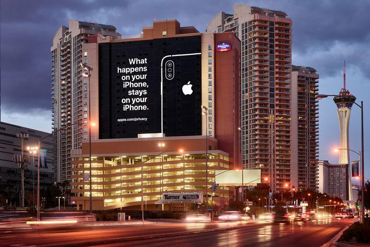 Apple is niet aanwezig in Las Vegas voor de elektronicabeurs CES, maar wilde wel een boodschap kwijt. Beeld RV