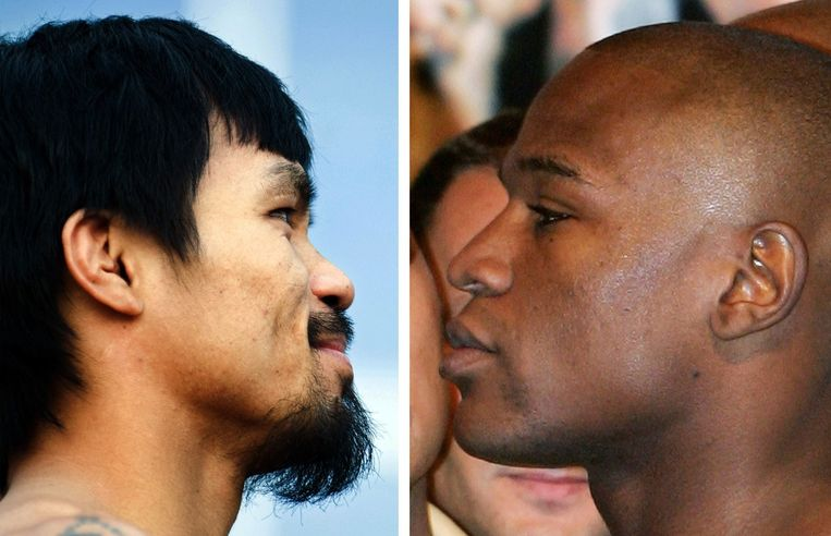 Manny Pacquiao (links) en Floyd Mayweather. Beeld AFP