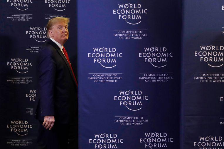 President Trump kondigde in Davos al aan dat hij graag bomen wilt planten tegen klimaatverandering. Beeld AP
