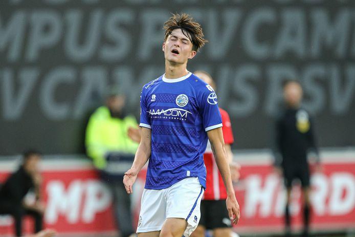 Ryan Leijten eerder dit seizoen in de gewonnen uitwedstrijd tegen Jong PSV (0-1).