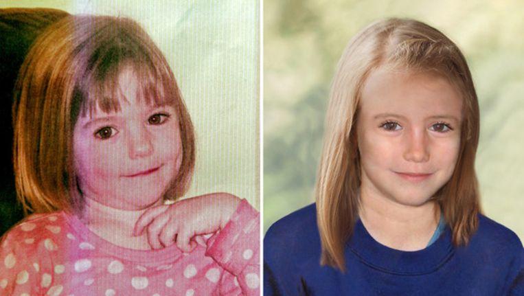 Madeleine McCann ten tijde van haar ontvoering (l) en een digitaal verouderde foto van haar als 9-jarige Beeld afp