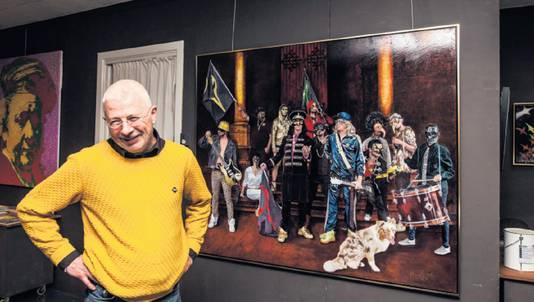 """Marcello bij de Nachwach. ,,Hoog tijd om naast oude rockhelden ook de jongere garde te schilderen."""""""