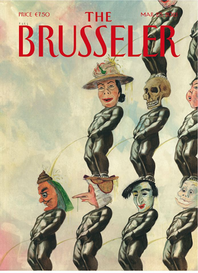Een Brusselse take op 'De Intocht van Christus te Brussel' van James Ensor.