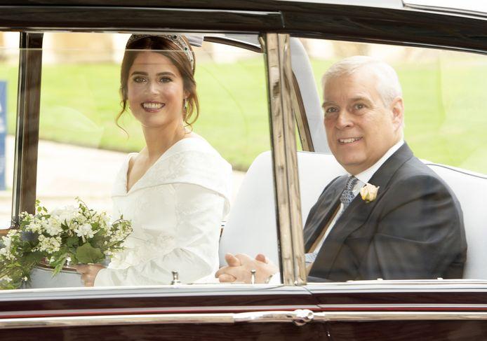Eugenie met Andrew op haar trouwdag.