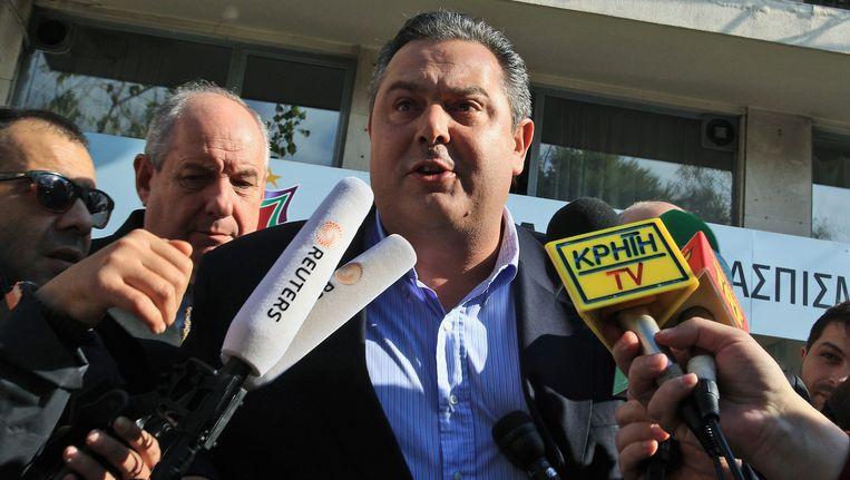 De leider van de Onafhankelijke Grieken (Anexartitoi Ellines), Panos Kammenos. Beeld EPA