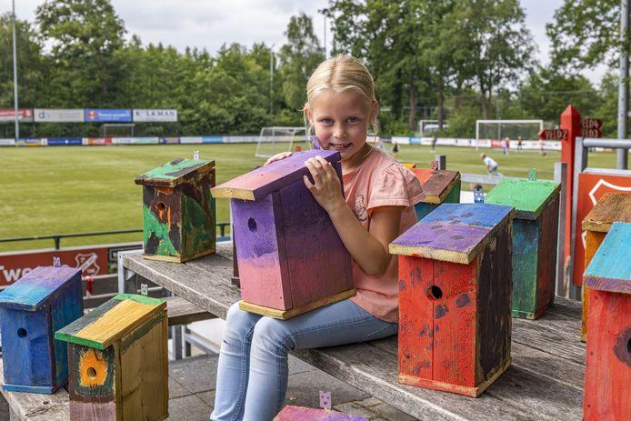 Fleur Knobbe (6) uit Nijverdal toont trots de nestkastjes, die zijn beschilderd door kinderen van de bso-vestiging van Columbus Junior in Hulsen.