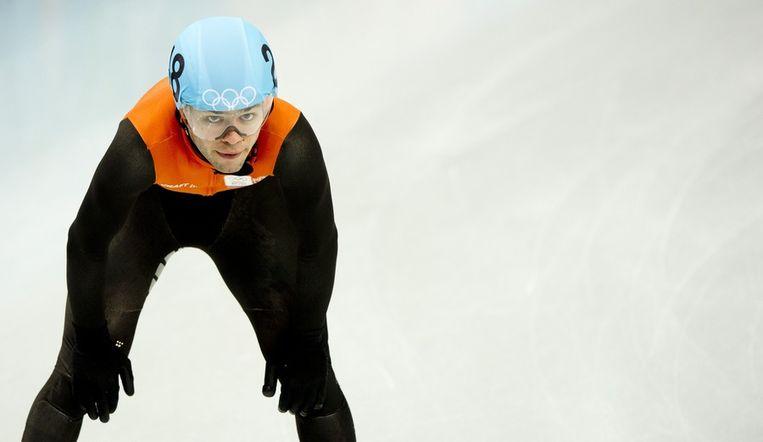 Sjinkie Knegt na de B-finale op de 500 meter in het Iceberg stadion. Beeld anp