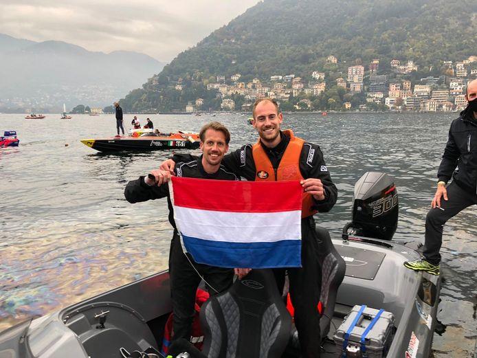 Jan-Cees Korteland (links) uit Alblasserdam en zijn broer Paul zijn wereldkampioen powerboatracen.
