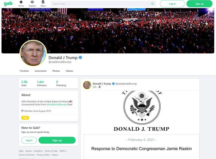 Eerste bericht van Donald Trump op sociaal medium platform Gab.