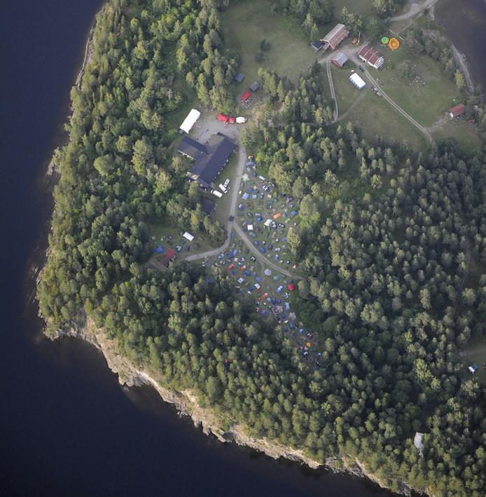 Utoya gezien vanuit de lucht.