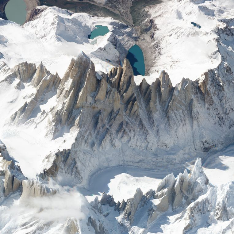 De 3400 meter hoge berg Fitz Roy op de grens van Chili en Argentinië