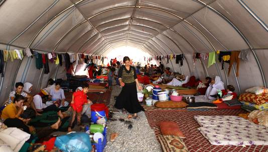 Iraakse yezidi's in vluchtelingenkamp Turkije.