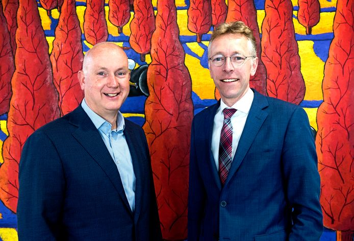 Hugo Nijhoff (links) en Harm Janssen spreken zich namens een consortium van grondeigenaren uit over de polder Rijnenburg.