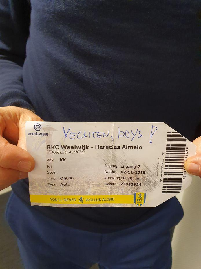 Het toegangsbewijs dat Wormuth kreeg van een fan.
