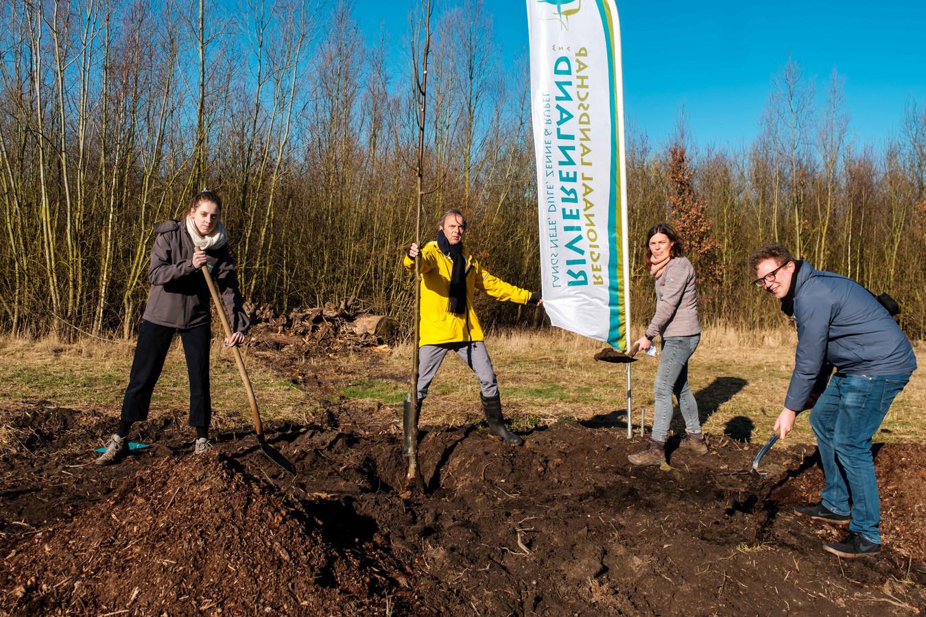 De aanplanting van de lindeboom in natuurgebied De Reukens.