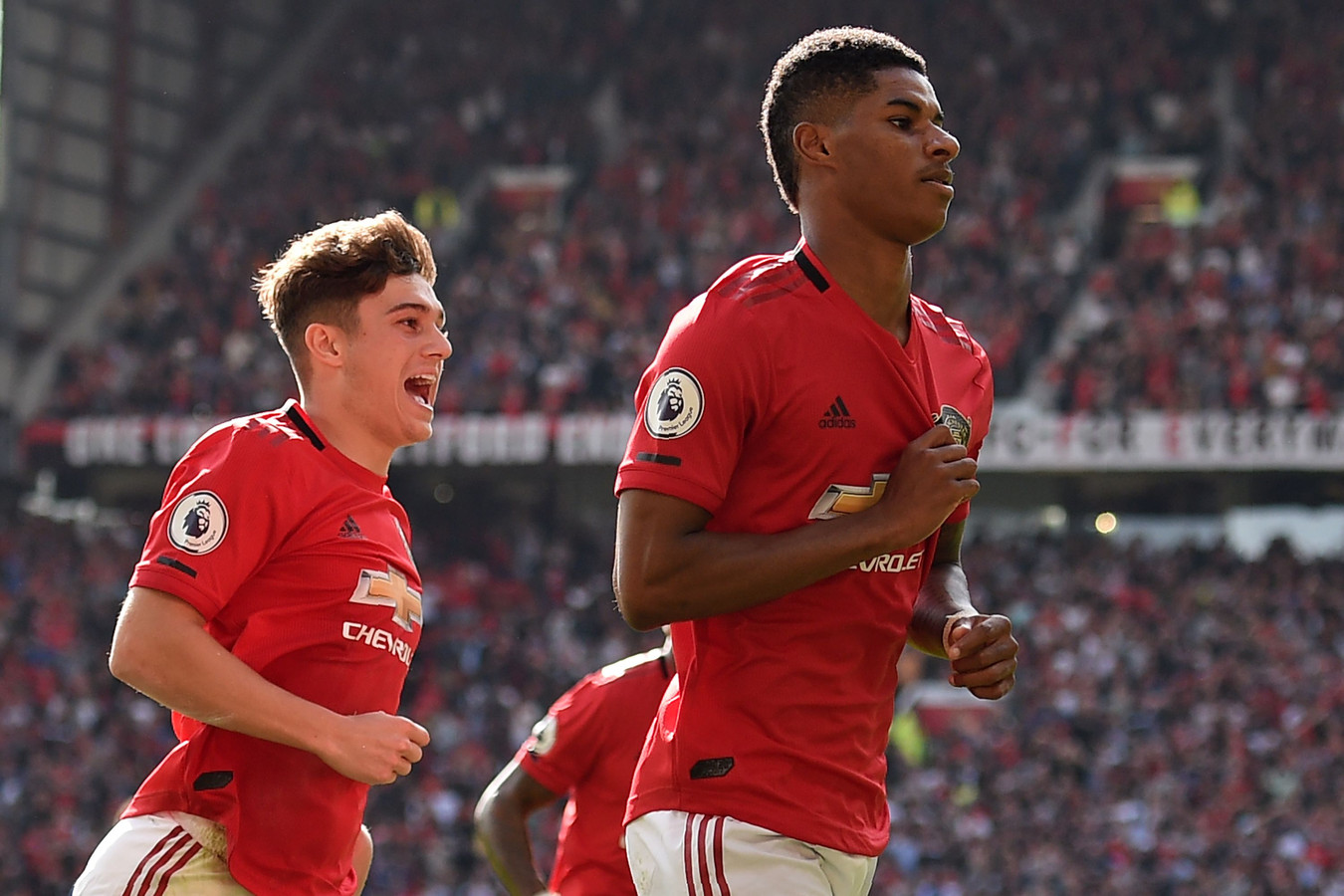 Matchwinner Marcus Rashford. Links Daniel James.