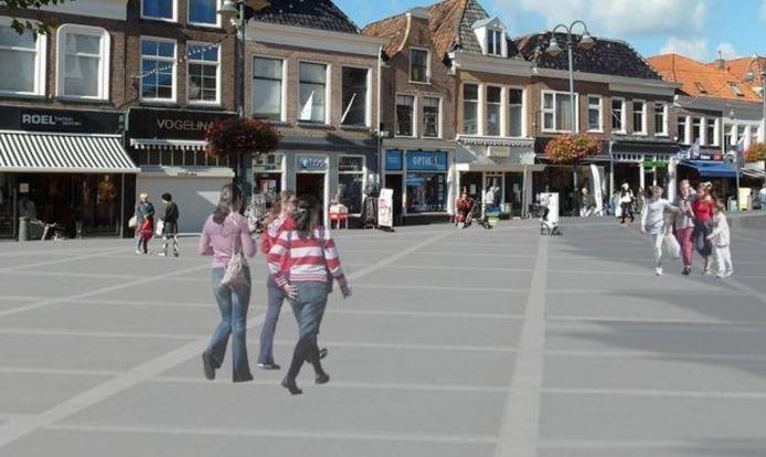 Een suggestie van de Gemeente Steenwijk over hoe de bestrating er op de Markt uit kan zien.